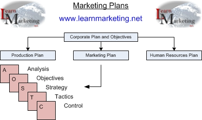 Diagram showing the structure of a marketing plan